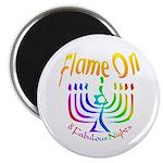 """Flame on! Gay Hanukkah 2.25"""" Magnet (10 pack)"""