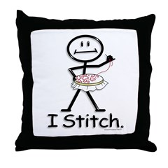 BusyBodies Cross Stitch Throw Pillow
