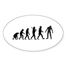 Funny Zombie Evolution Oval Decal