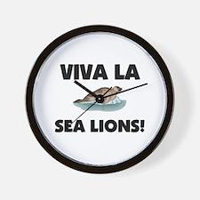 Viva La Sea Lions Wall Clock