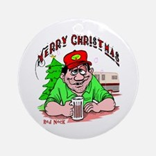 Comical Red Neck Christmas Ornament (Round)
