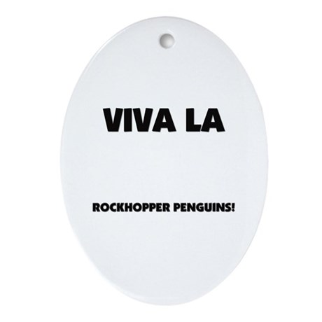 Viva La Rockhopper Penguins Oval Ornament