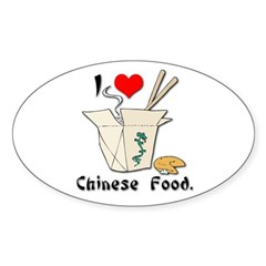 I Heart (Love) Chinese Food Oval Decal