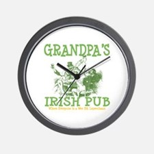 Grandpa's Irish Pub Personalized Wall Clock