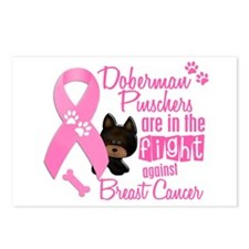 Dobermans Against Breast Cancer 2 Postcards (Packa