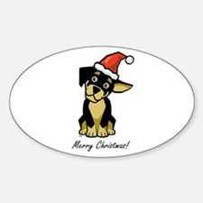 Christmas Puppy Oval Decal