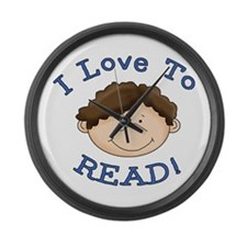 Boy Love to Read Large Wall Clock