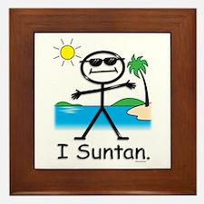 Suntan Stick Figure Framed Tile