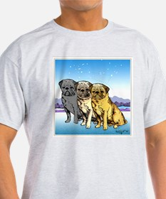 Three Pugs Ash Grey T-Shirt