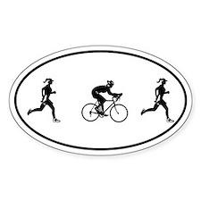 Women's Duathlon Oval Bumper Stickers