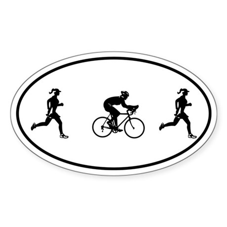 Women's Duathlon Oval Sticker