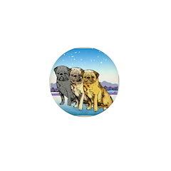 Three Pugs Mini Button (10 pack)