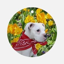 Easter boxer puppy Ornament (Round)