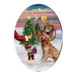 Santa's Treat for his Golden Oval Ornament
