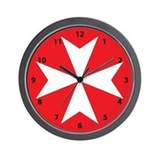 White Maltese Cross Wall Clock