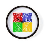 Four-color dog, heart Wall Clock