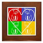 Four-color dog, heart Framed Tile