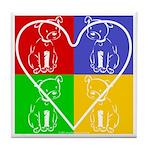 Four-color dog, heart Tile Coaster