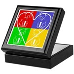 Four-color dog, heart Keepsake Box