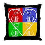 Four-color dog, heart Throw Pillow