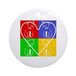Four-color dog, heart Ornament (Round)