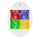 Four-color dog, heart Oval Ornament