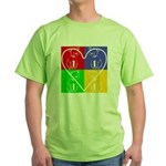 Four-color dog, heart Green T-Shirt