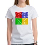 Four-color dog, heart Women's T-Shirt