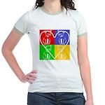 Four-color dog, heart Jr. Ringer T-Shirt