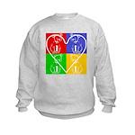 Four-color dog, heart Kids Sweatshirt