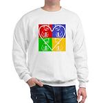 Four-color dog, heart Sweatshirt
