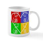 Four-color dog, heart Mug