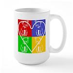 Four-color dog, heart Large Mug