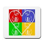 Four-color dog, heart Mousepad