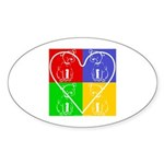 Four-color dog, heart Oval Sticker
