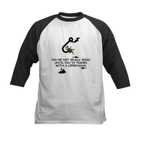 Leprechaun fishing Kids Baseball Jersey