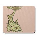 Green Art Nouveau Fish Mousepad