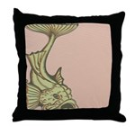 Green Art Nouveau Fish Throw Pillow