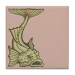 Green Art Nouveau Fish Tile Drink Coaster