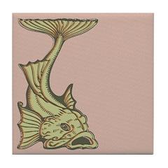 Green Art Nouveau Fish Tile Drink Coaster