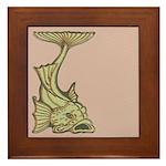 Green Art Nouveau Fish Framed Tile