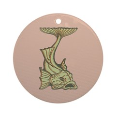 Green Art Nouveau Fish Ornament (Round)