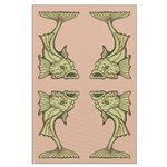 Green Art Nouveau Fish Large Poster