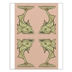 Green Art Nouveau Fish Small Poster