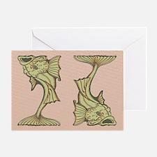 Green Art Nouveau Fish Greeting Card