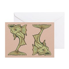 Green Art Nouveau Fish Greeting Cards (Pk of 20)