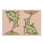 Green Art Nouveau Fish Postcards (Package of 8)