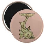 """Green Art Nouveau Fish 2.25"""" Magnet (10 pack)"""
