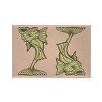 Green Art Nouveau Fish Rectangle Magnet (100 pack)