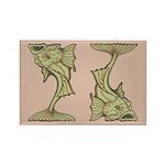 Green Art Nouveau Fish Rectangle Magnet (10 pack)